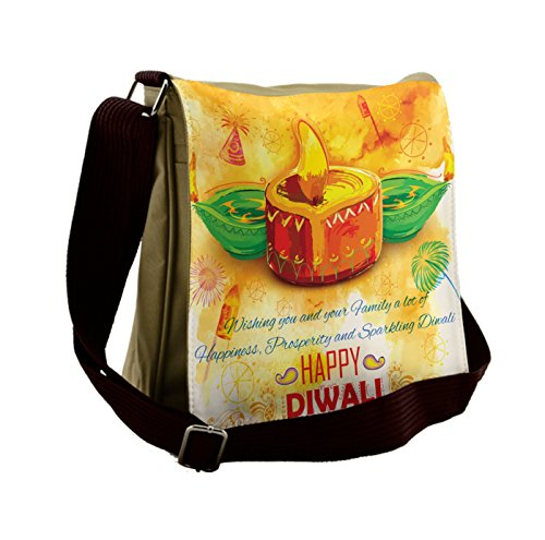 Lunarable Diwali Messenger Bag, Oil Painting Asian Party, Unisex Cross-body by Lunarable