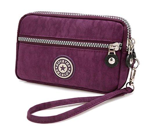3 Zippers Clutch Wallet Waterproof Nylon Cell phone Purse Wristlet Bag Money Pouch for Women (Dark Purple) by Coolstar