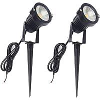 ALEDECO 2 Pack Low Voltage Landscape Lights 12V 5W LED Outdoor Pathway Garden Spotlight Tree Flag Uplights with Stake…