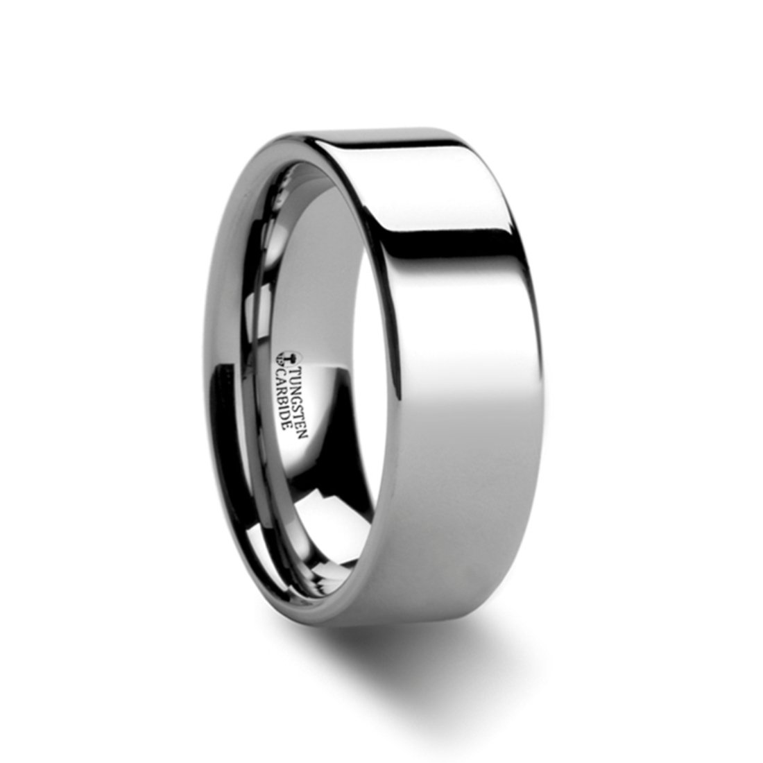 Thorsten Stockton Flat Pipe Cut White Tungsten Ring 7mm Wide Wedding Band from Roy Rose Jewelry