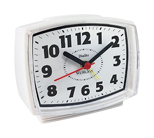 (Westclox 22192 Electric Alarm Clock with Constant Lighted Dial, White)