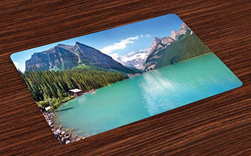 Panorama Landscape (Lunarable Landscape Place Mats Set of 4, Mountain and Lake Louise Panorama Banff National Park Alberta Canada Picture, Washable Fabric Placemats for Dining Room Kitchen Table Decor, Turquoise Blue)