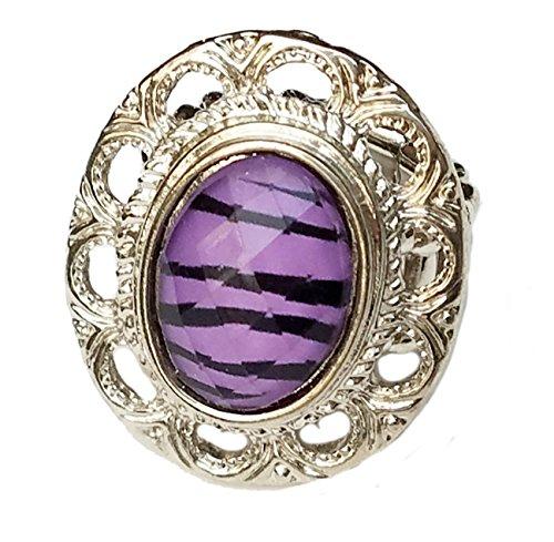 Purple Zebra Stripe - Rhodium Statement Stretch Band Rings (Purple Zebra Stripe Oval)