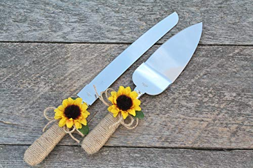 - Rustic chic sunflower cake cutter, Sunflower cake cutter, Wedding cake server set, Country wedding cake cutter, Cake server & cake knife set