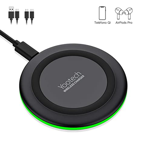 YOOTECH Cargador Rápido Inalámbrico, 7.5W Qi Wireless Charger para iPhone 11/11 Pro/11 Pro Max/XS MAX/XR/XS/X/8+/8, 10W para Galaxy ...