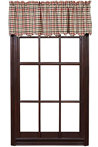 Red Plaid Valance (VHC Brands 13735 Victory Valance Scalloped Lined 16x60)