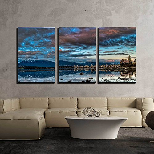 Reflection of Vancouver Skyline and Dramatic Blue Sky x3 Panels