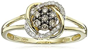 10k Yellow Gold Champagne and White Diamond Ring (1/4 cttw, I-J Color, I2-I3 Clarity), Size 7