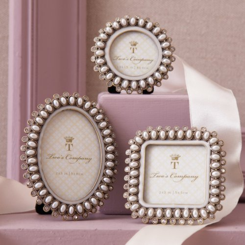 Precious Pearls Jeweled Mini Photo Frame in Gift Box, 3 Assorted Styles Oval, Circle, and Square Shaped