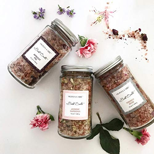 OLIVIA CARE Bath Salts -Apricot Fig, French Rose, Jasmine Gardenia- Uses pure & natural Pink Himalayan salt to detoxify & clean Body, Great for Sore muscles & Relaxing (1x of Each flavor) (3 Total) ()