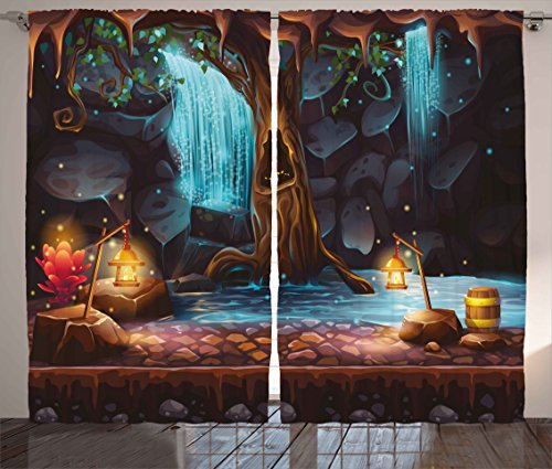 Ambesonne Fantasy Curtains, Enchanted Forest with Cave Water