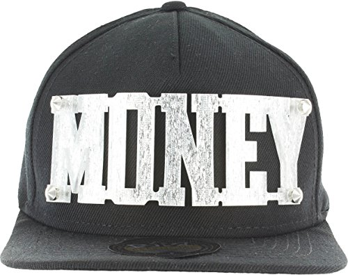 Price comparison product image Baseball 3D Letters Snapback Bling Collection - MONEY Plate Hip-Hop Hat Plaque Black Silver
