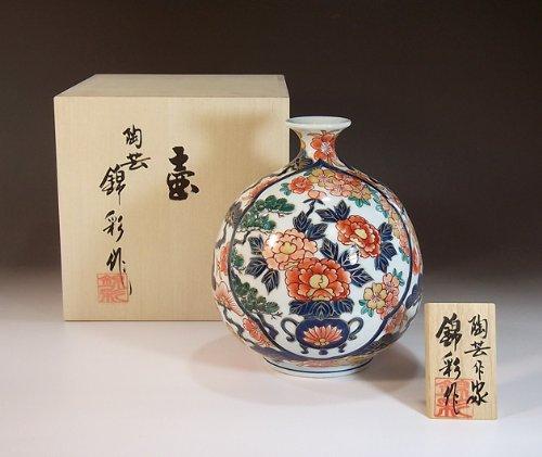 有田焼伊万里焼の陶器花瓶|高級贈答品|ギフト|記念品|贈り物|古伊万里陶芸家 藤井錦彩 B00IDP2DN6