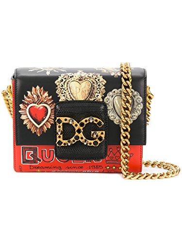 Dolce Gabbana Leather Purse - Dolce E Gabbana Women's Bb6391ah658hnm69 Black/Red Leather Shoulder Bag