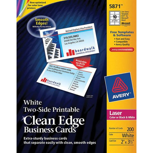 Wholesale CASE of 15 - Avery Clean Edge Laser Business Cards-Business Cards,F/Laser Printer,200/PK,3-1/2