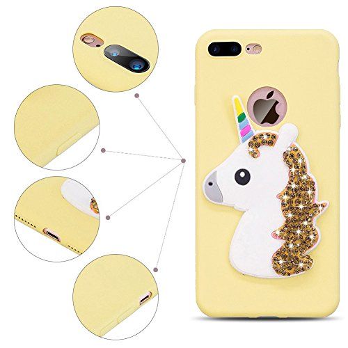 Funda iPhone 7 , SpiritSun Cover iPhone 8 Carcasa Funda Handy Diy Kawaii Silicona Funda en 3D Bling Bling Glitter Líquido Ultra Delgado y Ligero Goma Flexible Cover TPU Silicone Case Caja Suave Gel Pr Yellow Unicorn