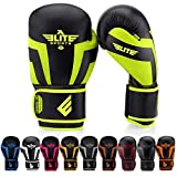 Elite Sports Boxing Gloves for Men, Women, and Kids, Kickboxing Punching Bag Pair of 2 Gloves (Green 14 Oz)