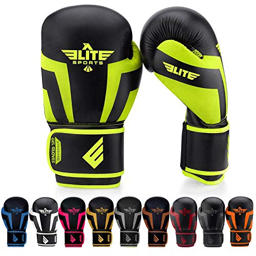 Elite Sports New Item Standard Adult Kickboxing, Muay Thai Gel Sparring Training Boxing Gloves (Green 14oz)