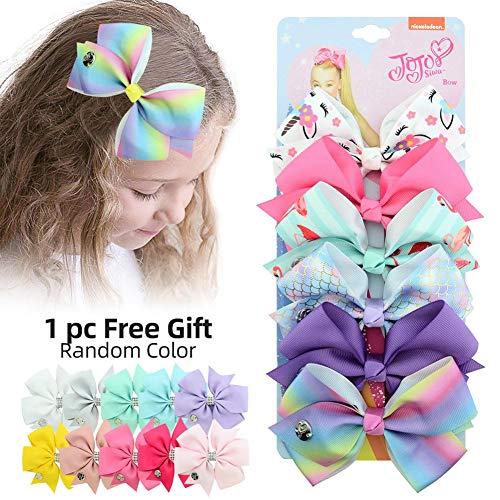 6pcs/Set 5 Inches JOJO Siwa Bows Hair Bows Alligator Clips for Girls Unicorn Grosgrain Ribbon Hair Barrettes Accessories for Toddler Kids]()