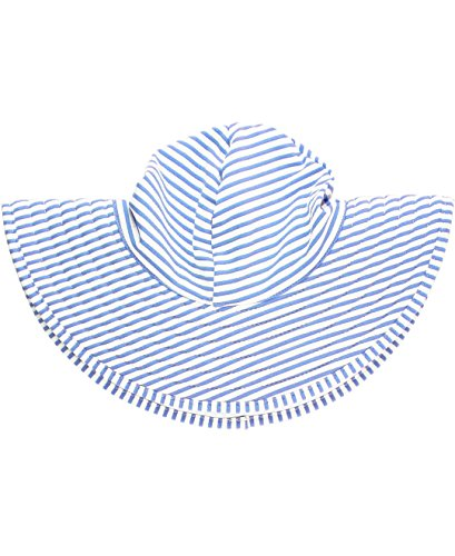 RuffleButts Girls Periwinkle Blue Striped Seersucker Swim Hat - 6-10 ()