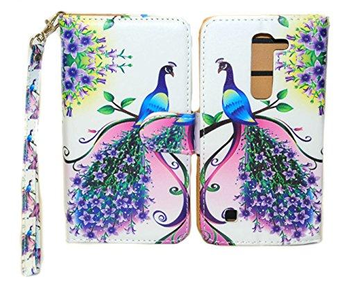 Purple & Pink Peacock Wallet Leather Case for LG Volt 2 LS751 LG Magna