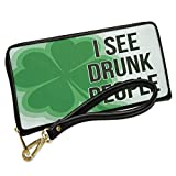 Wallet Clutch I See Drunk People St. Patrick's Day Large Shamrock with Removable Wristlet Strap Neonblond