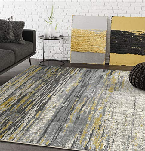 Abani Rugs Grey Yellow Painted Pattern Area Rug Bold Rugged Contemporary Modern Style Accent, Laguna Collection Turkish Made Superior Comfort Construction Stain Shed Resistant 4 x 6