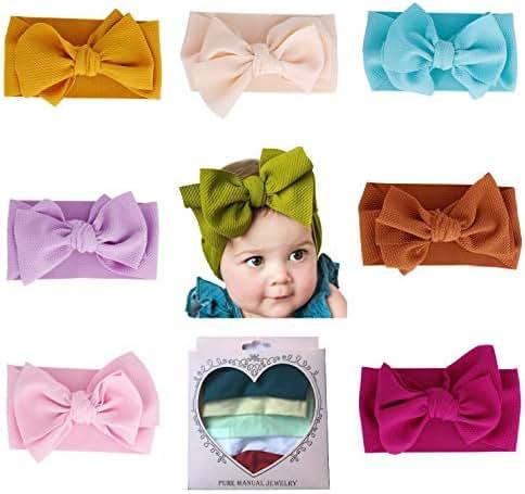 ZHW Baby Girl Nylon Headbands Turban Newborn Infant Toddler Hairbands with Bows Children Hair Accessories