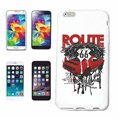 """cas de téléphone iPhone 6S """"ROUTE 66 V8 HOT ROD HOT ROD CAR US Mucle CAR V8 ROUTE 66 USA AMÉRIQUE"""" Hard Case Cover Téléphone Covers Smart Cover pour Apple iPhone en blanc"""