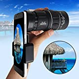 GEZICHTA HD Universal Monocular Telescope, 20x Magnification Zoom Lens, 1000m/6000m View, with Mobile Phone Camera Holder, for Camping, Hiking, Traveling, Outdoors