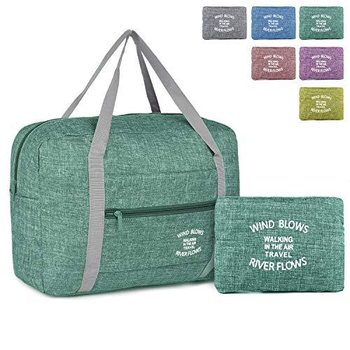Wandf Foldable Travel Duffel Bag Luggage Sports Gym Water Resistant Nylon (Light Green)