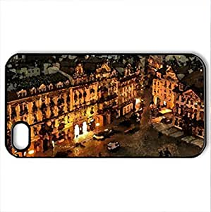 beautiful roman square - Case Cover for iPhone 4 and 4s (Watercolor style, Black)