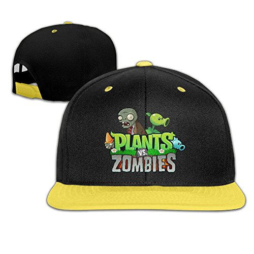 [WYUZHEN Kid's Cool Plants Vs. Zombies Logo Hip-hop Snapback Hat Caps Yellow] (Zombie Doctor Childrens Costumes)