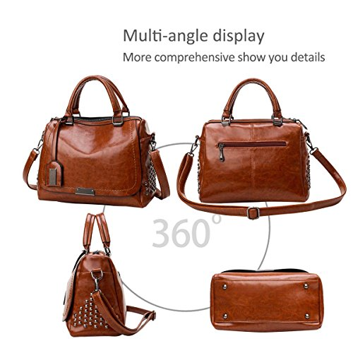 B Handbag Soft Leather Color Bags Fashoin amp;DORIS Tote Pure 2018 Top Handle Pu New Brown Womens Black NICOLE wqFg6T1xT