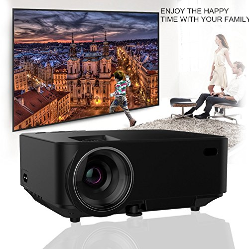 Synchronize Smart phone Screen Projector,2018 updated 170 inch 1500 LED  Luminous Multimedia Video LED Projector For iPhone IOS Android Phone DVD