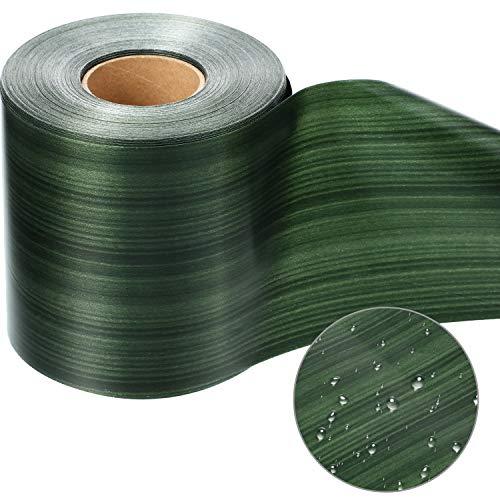 1 Roll Green Aspidistra Ti Leaf Pattern Poly Satin Waterproof Ribbon 4 Inch Floral Craft Decoration (49 Yards Long)