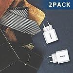 Amoner-Caricatore-USB-da-Muro-con-3-Porte-Caricatore-da-3A-USB-Una-Corrente-Massima-di-24-A-per-Tutti-Quasi-Tutti-Dispositivi-2-Pack-Bianco