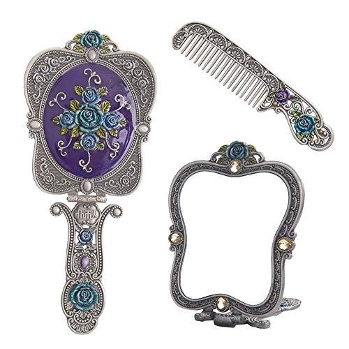 Nerien Vintage Rose Metal Mirror Comb Set Antique Hand Held Vanity Mirror Comb Set Antique Pewter