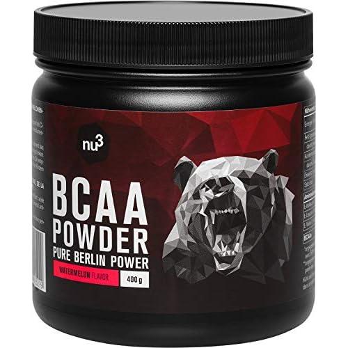 nu3 BCAA en polvo - 40 porciones de aminoácidos ramificados - 400g sabor sandía - Proporción óptima de leucina, isoleucina y valina 2:1:1 - Suplemento deportivo - Nutrición deportiva vegana a buen precio