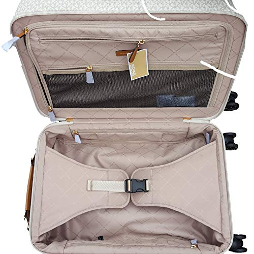 Michael Michael Kors Signature Travel Trolley Rolling Carry On Suitcase Vanilla Acorn
