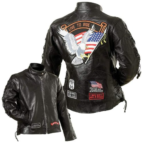 - Diamond Plate Ladies Leather Moto JACKET, Black, Small