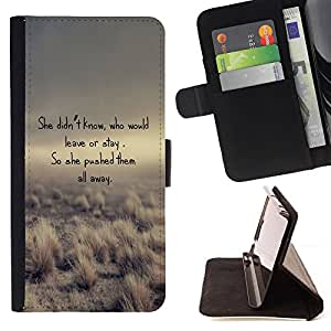 BullDog Case - FOR/HTC One M8 / - / poem leave stay love funny desert nature /- Monedero de cuero de la PU Llevar cubierta de la caja con el ID Credit Card Slots Flip funda de cuer