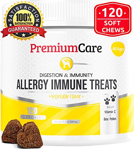 Allergy Multivitamin - Allergy Relief Immune Supplement for Dogs - Treats Seasonal & Food Allergies, Skin Itch, Hot Spots and More - Promotes Skin & Coat, Improves Digestion, Enhances Gut Health - 120 Chew Treats