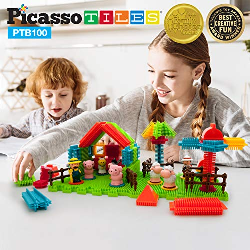 Farm Blocks - PicassoTiles PTB100 100pcs Bristle Shape 3D Building Blocks Tiles Farm Theme Set Learning Playset STEM Toy Set Educational Kit Child Branin Development Preschool Kindergarten Toy