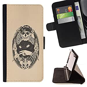 Jordan Colourful Shop - skull bones cat tattoo beige black For Apple Iphone 5 / 5S - < Leather Case Absorci????n cubierta de la caja de alto impacto > -