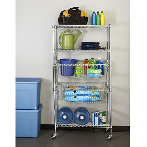 Seville Classics Chrome Pull Out Bin Shelving W Wheels 18 Quot D X 36 Quot W X 71 Quot H Buy Online In Uae Home Garden Products In The Uae See Prices