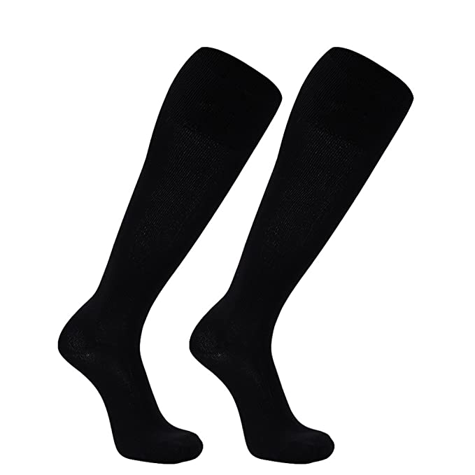 Over Knee High Baseball Socks, FOOTPLUS Boys Girls Womens Volleyball Softball Rugby Hockey Cheerleaders Soccer Socks, Back to School Socks, 2 Pairs Black, Medium