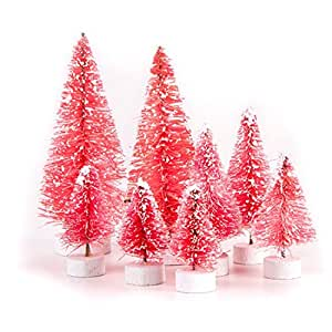 Darice Bottle Brush Christmas Sisal Trees Variety Pack - Pink with Snow 8pc Set