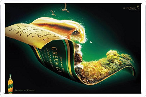 Johnnie Walker Whiskey Green Label Tin Poster by Food & Beverage Decor Sign