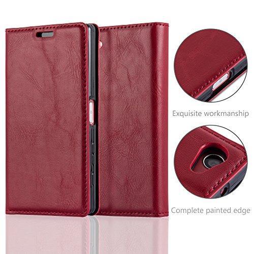 Cadorabo - Funda Book Style Cuero Sintético en Diseño Libro Sony Xperia Z5 COMPACT / MINI - Etui Case Cover Carcasa Caja Protección con Imán Invisible en ROJO-MANZANA ROJO-MANZANA